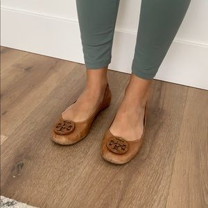 Brown leather Tory Burch Flats
